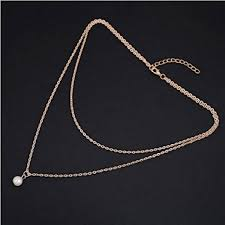 33 its alloy elegant double layer chain imitation pearl pendant necklace for women gold