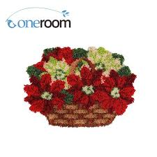 zd532 flowers in basket hook rug kit diy unfinished crocheting yarn mat latch hook rug kit