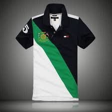 fashion tommy hilfiger color block mens short sleeved polo shirt stand collar navy green white