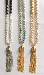 2019 new smooth and faceted glass beads tassel necklace multi colours rhodium silver gold tone beaded necklace with chains y shape pendant from bribeauty
