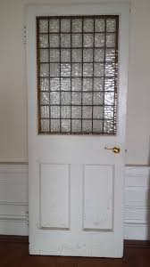 internal door with rectangular stained glass panel