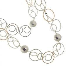 beautiful fashion jewellery long 40 silver and rose gold circles and spheres chunky necklace r791