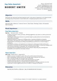Gap Sales Associate Resume Samples Qwikresume