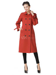 women trench coat long sleeve turndown collar orange red winter pea coat no 2