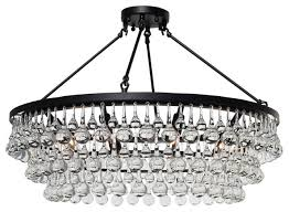 celeste 32 flush mount glass drop crystal chandelier black