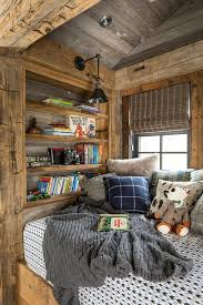 rustic country reading nook with wooden shelves