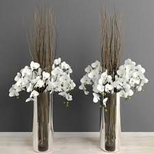 white orchids with willow branches in tall glass vase 3d model max obj mtl 1
