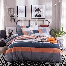 2018 gray orange navy blue and white stripe duvet cover sets queen