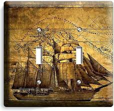 pirate ship old treasure map double