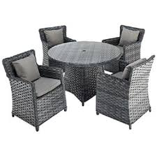 port royal platinum round rattan dining set with 4 chairs forever furnishings