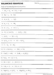 balancing chemical equations problems with answers practice pdf word worksheet physical science