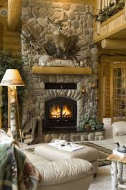 10 log home with crafty stone fireplace setting