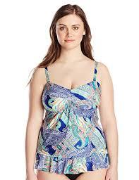Kenneth Cole Plus Size Swimwear Size Chart Kenneth Cole Womens Plus Size Paisley Intuition Blouson Tankini