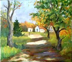 country village lane rural scene signed original oil painting landscape nature