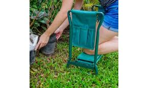 off on garden kneeler and seat with