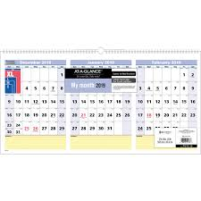 At A Glance 3 Month Calendar At A Glance Quicknotes 3 Month Horizontal Wall Calendar Degroot
