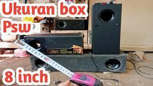 ukuran box detail subwoofer 8 inch psw 500 rebah polytron - YouTube