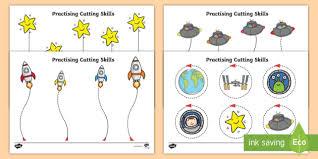 Printable phonics worksheets for kids. Space Themed Scissor Skills Worksheet Worksheet Pack