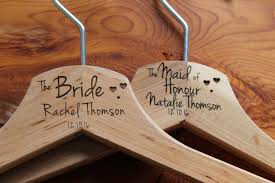 10 personalized bridesmaid wedding hanger in wood or white hanger engraved wedding gift bride