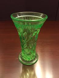 Green Glass That Glows Under Black Light Uranium Green Glass Vase Early American Pressed Glass Floral