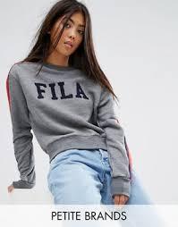 fila hoodie women s. fila petite logo sweatshirt with sports stripe sleeve hoodie women s
