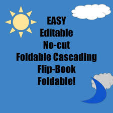 Editable Foldable Templates Easy Editable No Cut Cascading Flip Book Foldable Template Tpt