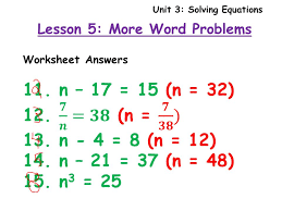 unit 3 solving equations lesson 5 more word problems