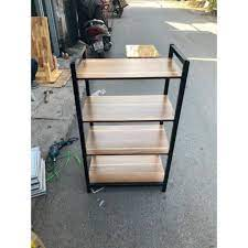 Kệ Để Lò Vi Sóng 4 tầng rộng rãi, chắc chắn tiện dụng mặt gỗ khung thép  không gỉ sơn tĩnh điện giá cạnh tranh