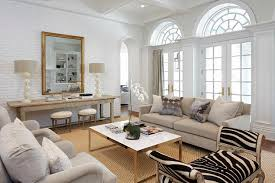 living room with zebra bench