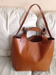 zara super thick real leather large tan brown hand shoulder bag tote per