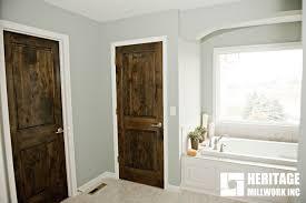 knotty alder stained dark with white trim modern bathroom