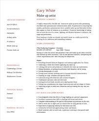 resume makeup artist