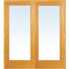 mmi door 72 in x 80 in both active unfinished pine wood full lite clear prehung interior french door z019936ba the home depot