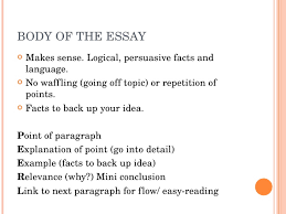 how to write a good essay  body of the essay