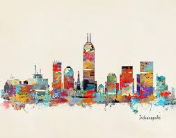 indianapolis painting indianapolis indiana skyline by bleu bri