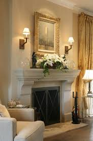 fireplace mantle and surround design sconces stone mantel traditional french country similar to our family room fireplace