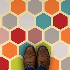 colourful honeycomb geometric pattern vinyl flooring from forthefloorandmore com