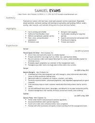 Restaurant Sample Resume Fast Food Server Resume Example Restaurant