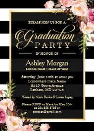 Elegant Graduation Announcements Elegant Floral Gold Black White Stripes Graduation