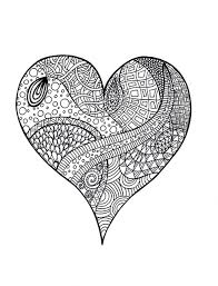 Small Picture Heart Zentangle Colouring Page Psychedelic App and Adult coloring