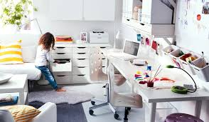 ikea office furniture ideas. cool ikea workspace design ideas white funky shared with length study desk and movable chairs ikea office furniture