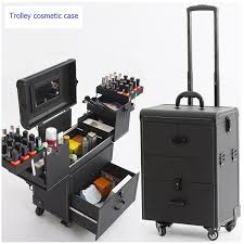 2019 trolley cosmetic case luge profession suitcase for makeup trolley box nails beauty woman luge travel cosmetic bag wheels from snappya