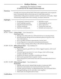 Resume For Hospitality Magnificent Front Desk Clerk Resume Example Hotel Hospitality Sample Resumes