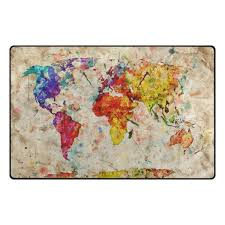 Colorful Vintage World Map Kids Children Area Rugs Non Slip Floor ...