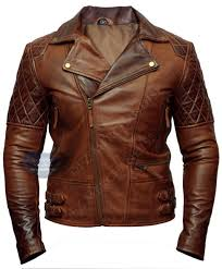 mens biker motorcycle distressed brown leather jacket