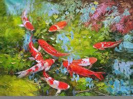 koi fish painting impasto oil painting koi fish by enxu zhou