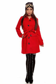red long sleeves belted on down peacoat