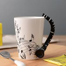 office coffee cups. 300ml Creative Clarinet Music Bone China Ceramic Coffee Tea Mug Cups Porcelain Novelty Cafe Teatime Office