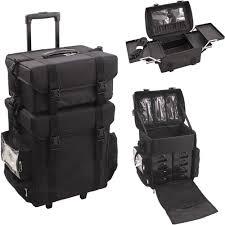 rolling makeup artist trolley professional black train case soft sided storage 8100260206005 ebay