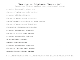algebra one worksheets algebra one worksheets basic grade 8 with solving algebraic equations writing from word